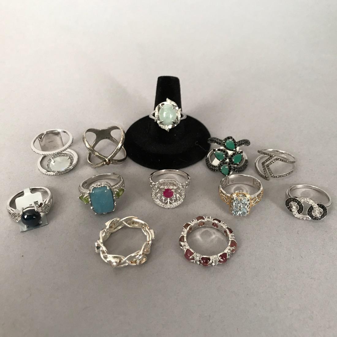 12 Sterlig Silver Rings