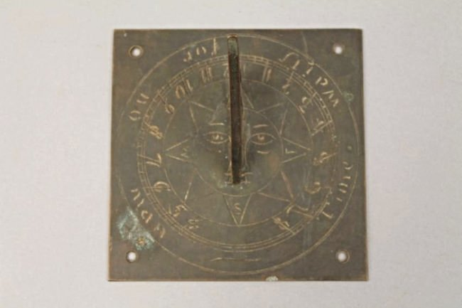 Square Bronze Sundial (Time Waits for No Man)