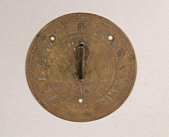 Round Bronze Sundial Dated 1662