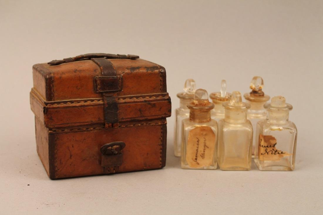 Small Leather Cased Medicine Bottle Set