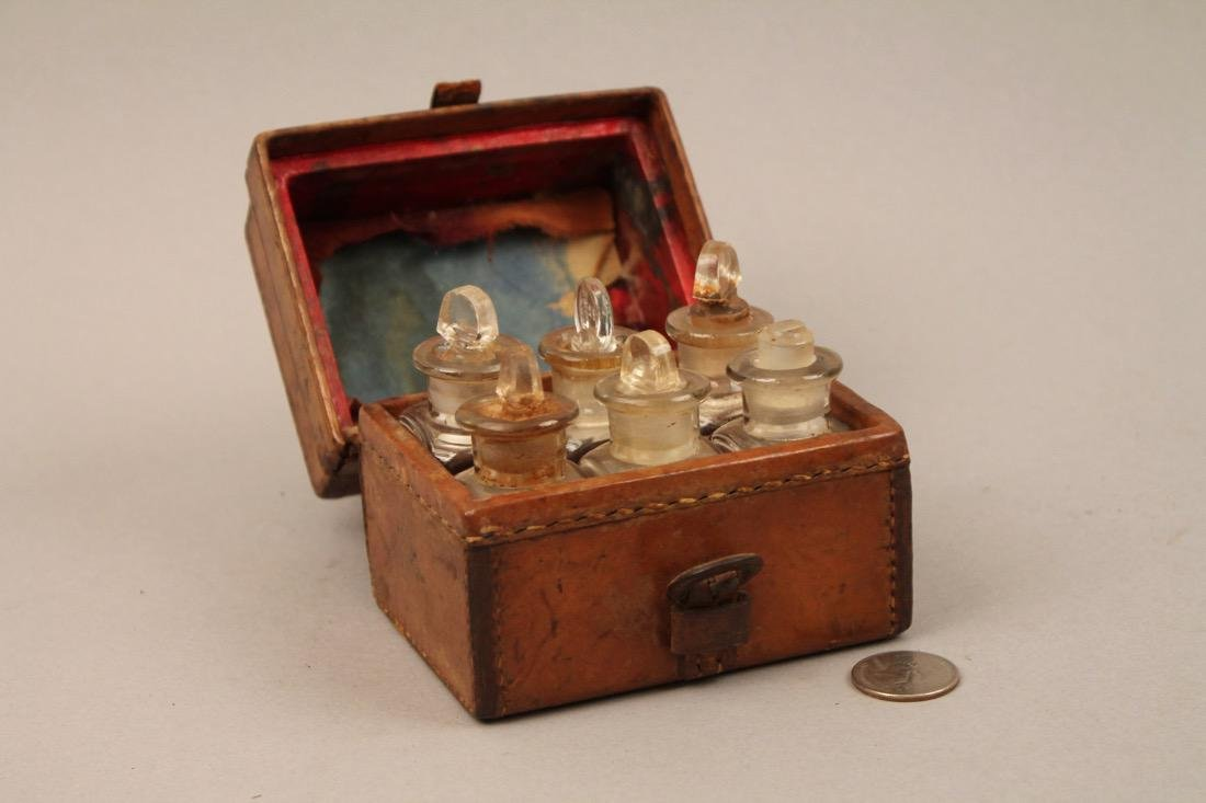 Small Leather Cased Medicine Bottle Set - 2