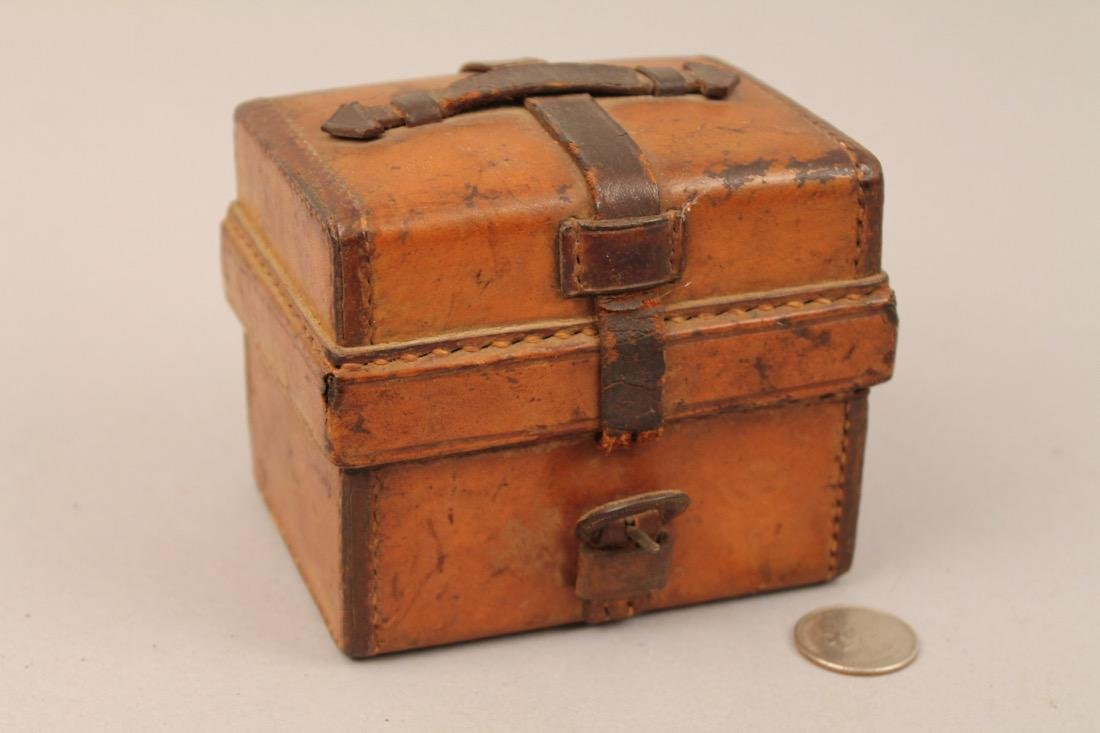 Small Leather Cased Medicine Bottle Set - 3