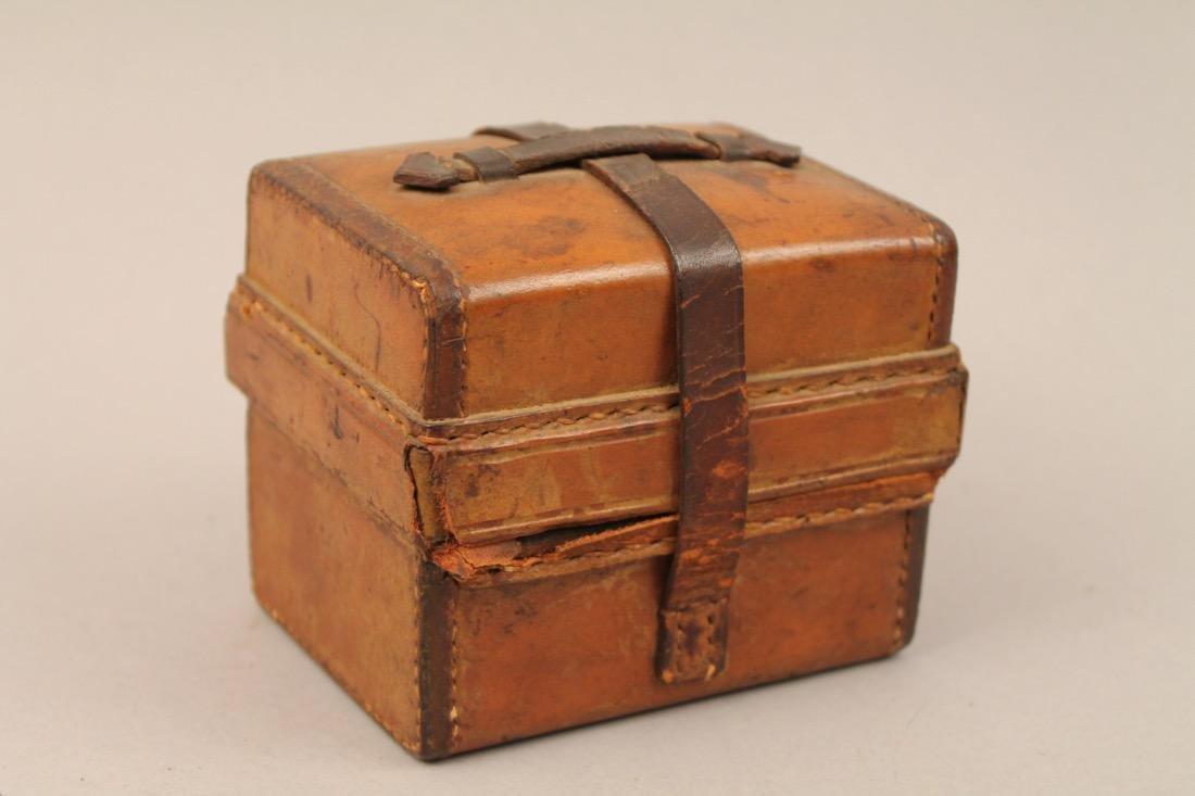 Small Leather Cased Medicine Bottle Set - 4