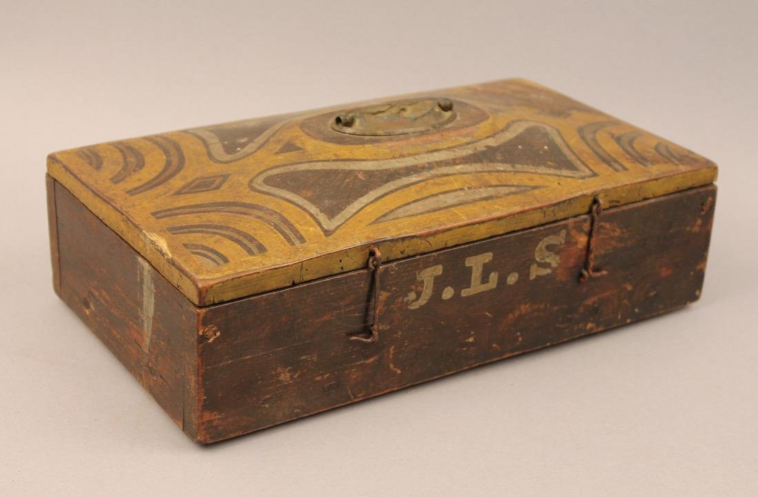 Brass Surveyors Tool In Paint Decorated Folk Art Box