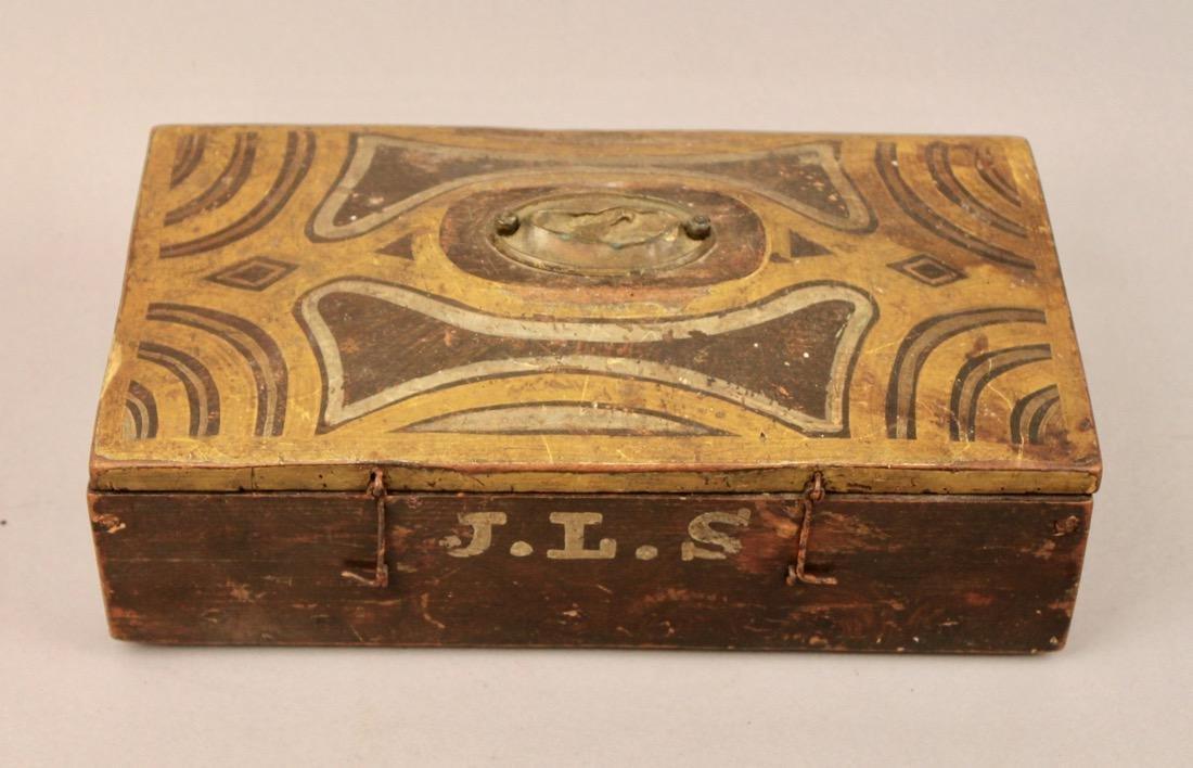 Brass Surveyors Tool In Paint Decorated Folk Art Box - 2