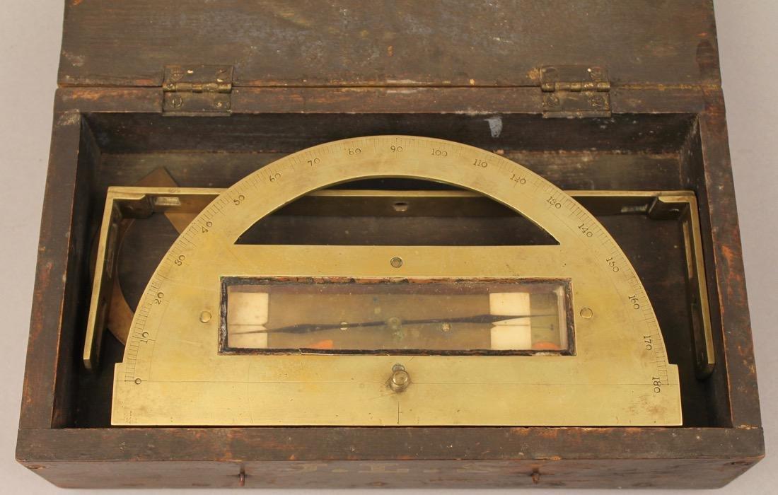 Brass Surveyors Tool In Paint Decorated Folk Art Box - 3