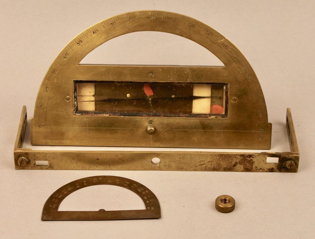 Brass Surveyors Tool In Paint Decorated Folk Art Box - 4