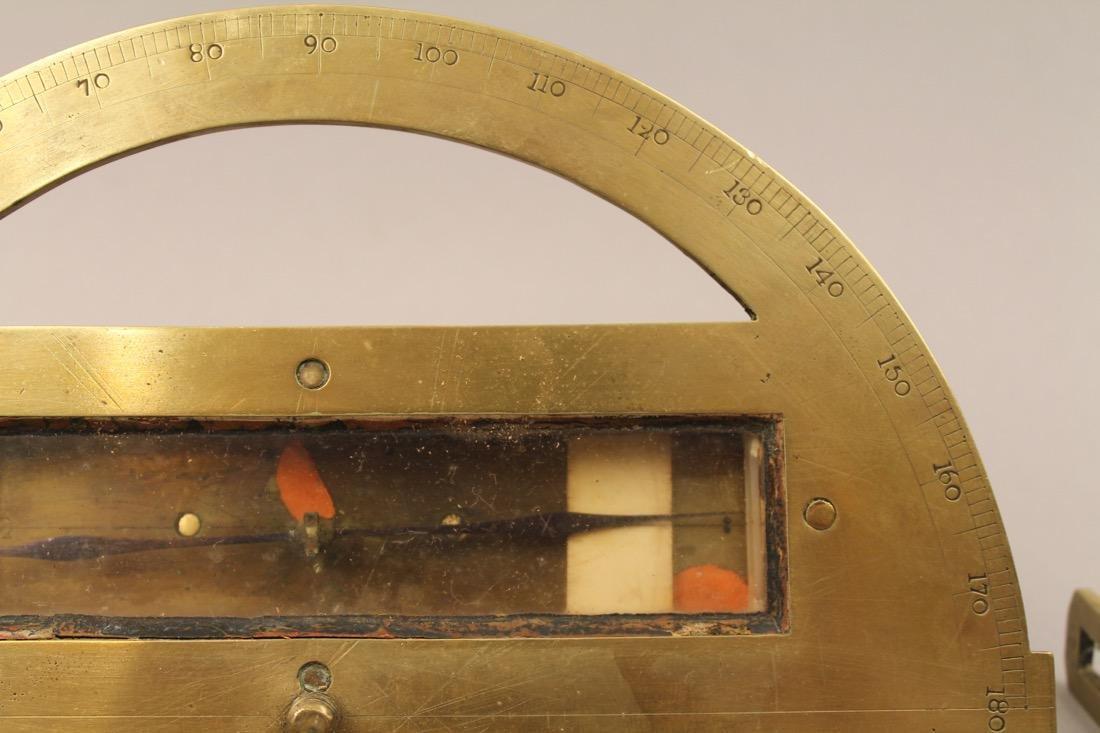 Brass Surveyors Tool In Paint Decorated Folk Art Box - 5
