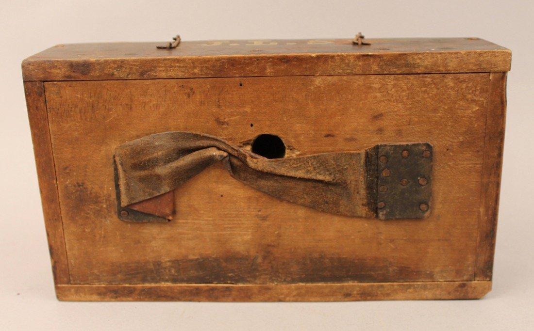 Brass Surveyors Tool In Paint Decorated Folk Art Box - 6