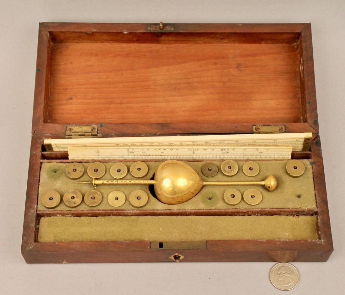Antique Hydrometer Original Wood Box Alcohol Proof