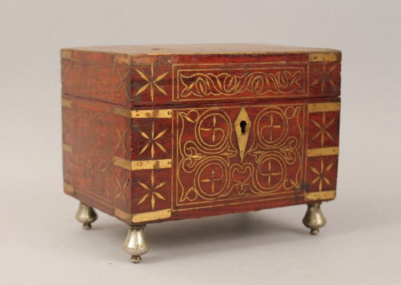 19th c French Footed Perfume Box with Brass Inlay
