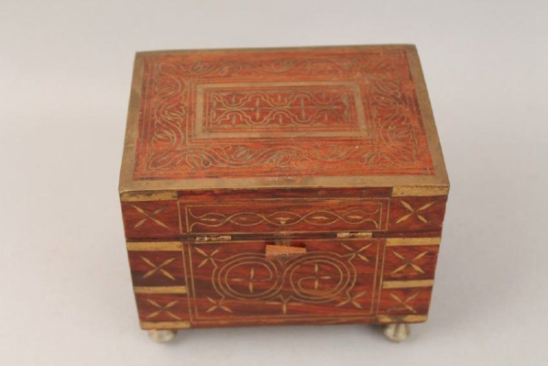19th c French Footed Perfume Box with Brass Inlay - 2