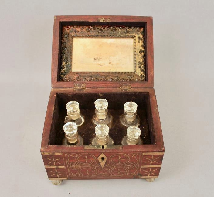 19th c French Footed Perfume Box with Brass Inlay - 3