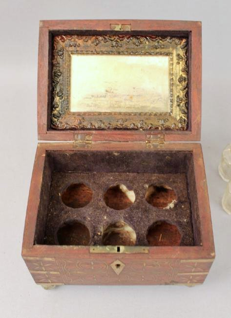 19th c French Footed Perfume Box with Brass Inlay - 4