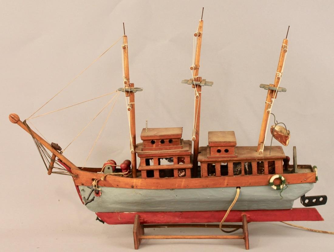 Three Masted Handmade Ship Model - 4