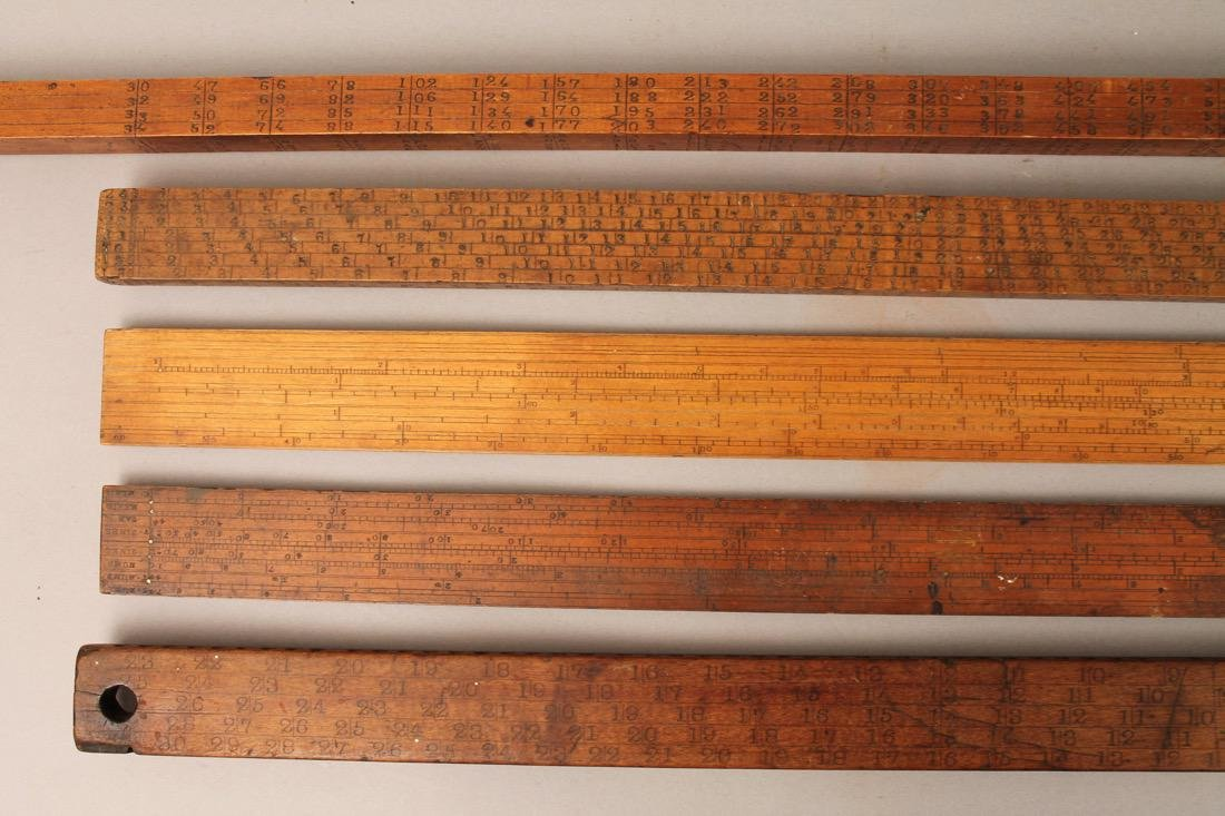 5 Vintage Mathmatical Measuring Sticks