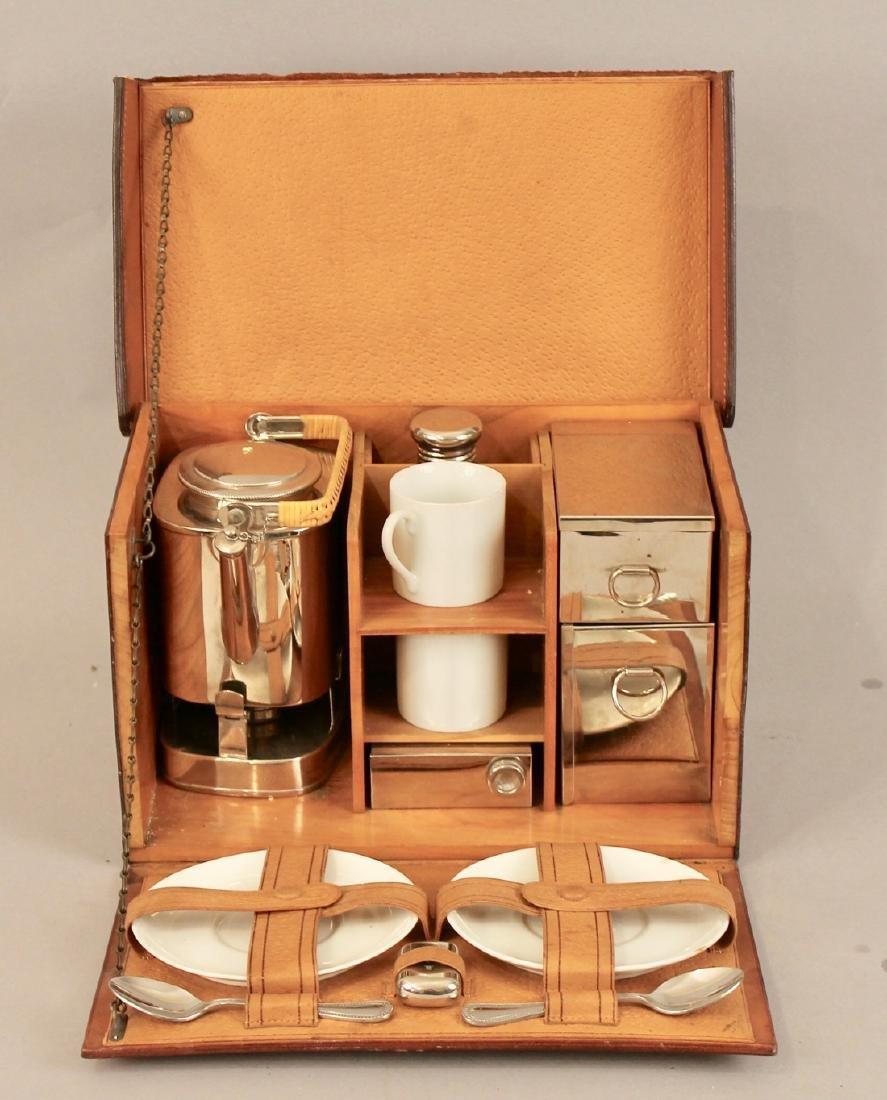 Vintage Travel Tea Service in Leather & Wood Case