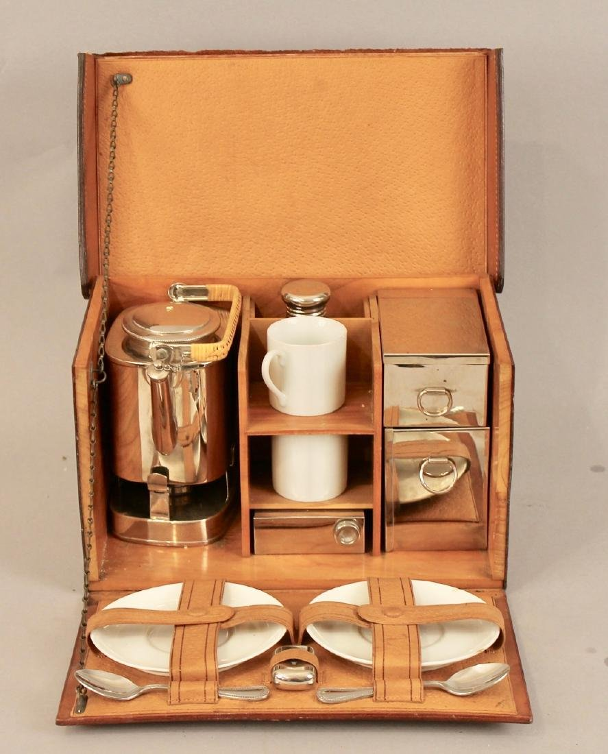 Vintage Travel Tea Service in Leather & Wood Case