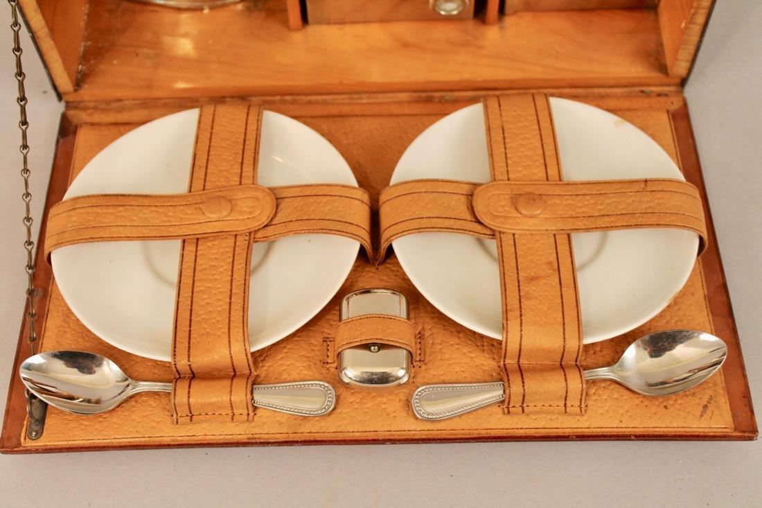 Vintage Travel Tea Service in Leather & Wood Case - 2