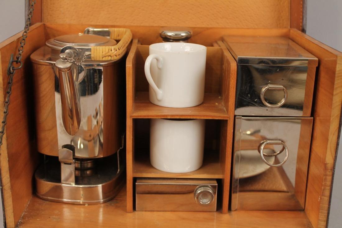 Vintage Travel Tea Service in Leather & Wood Case - 3