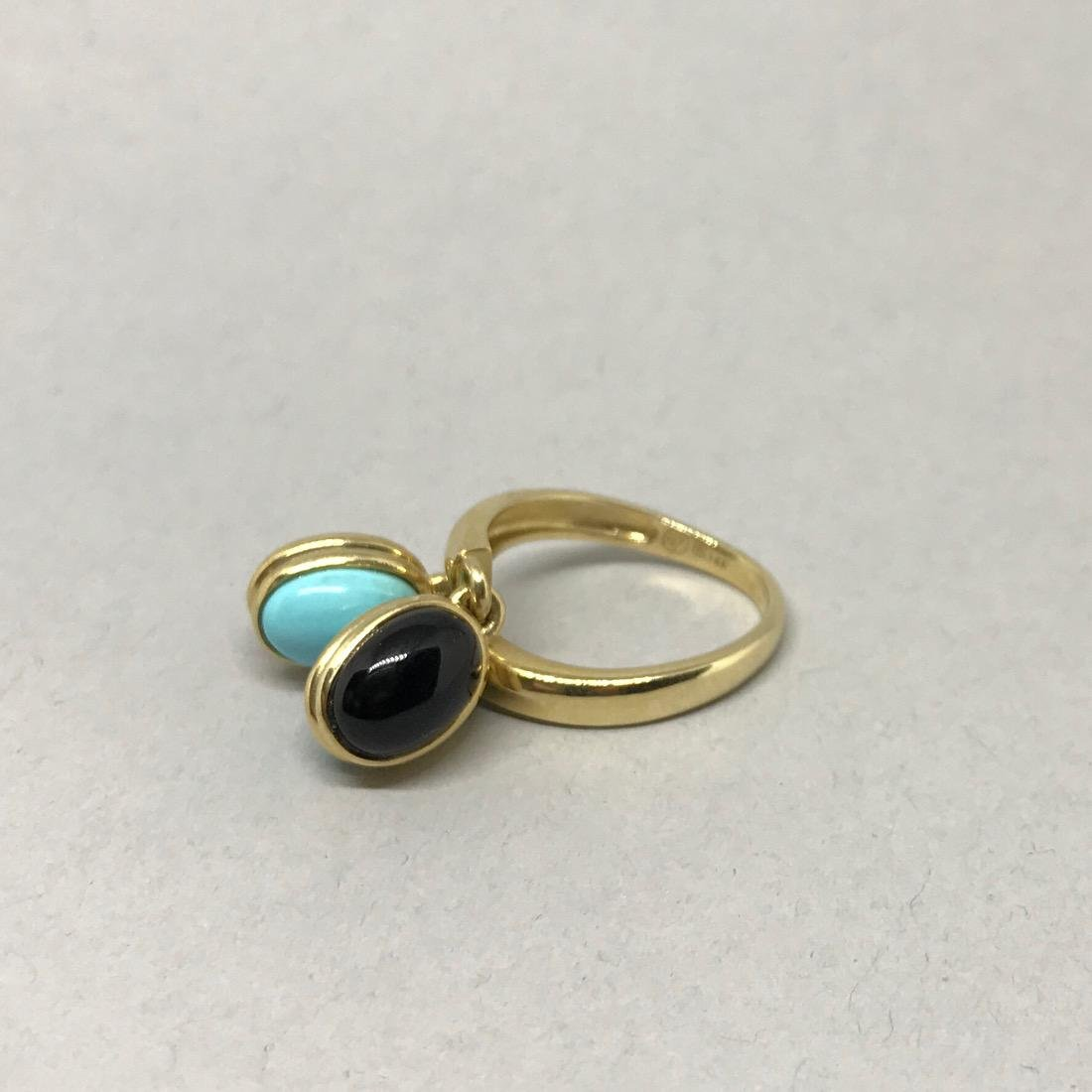 14Kt Gold Ring with Onyx & Turquoise