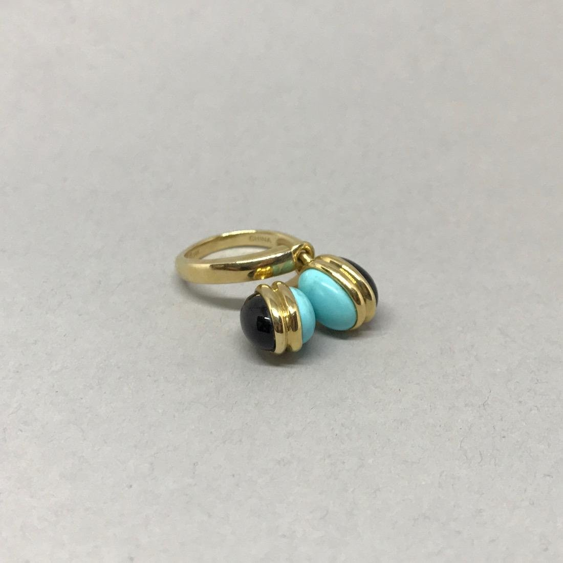 14Kt Gold Ring with Onyx & Turquoise - 2