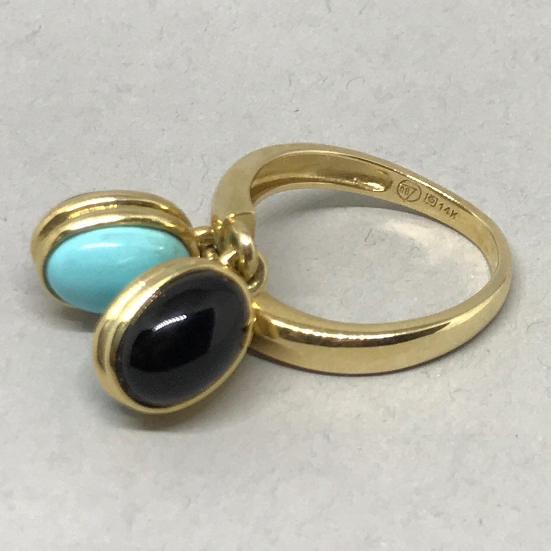 14Kt Gold Ring with Onyx & Turquoise - 3