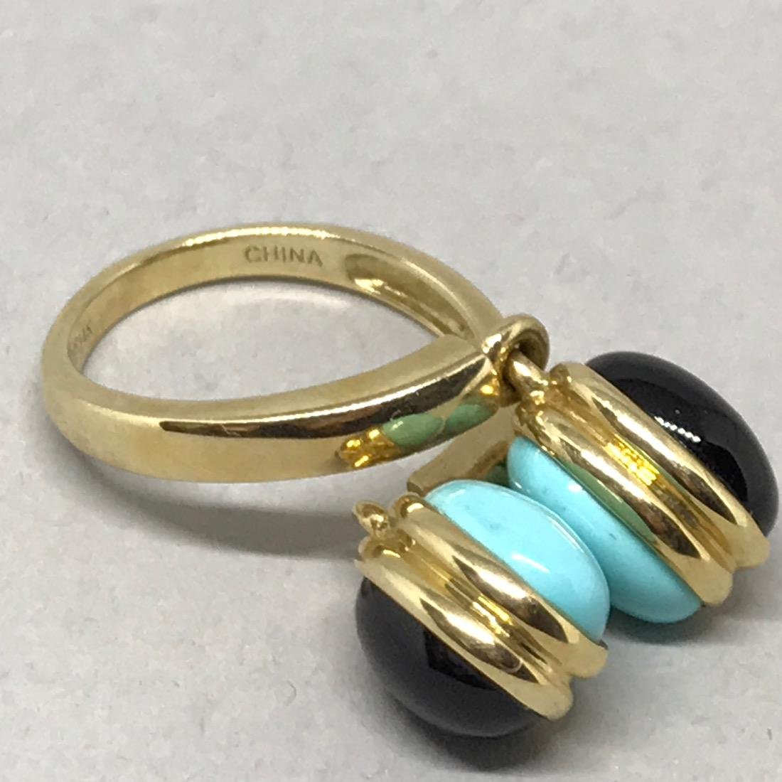 14Kt Gold Ring with Onyx & Turquoise - 4