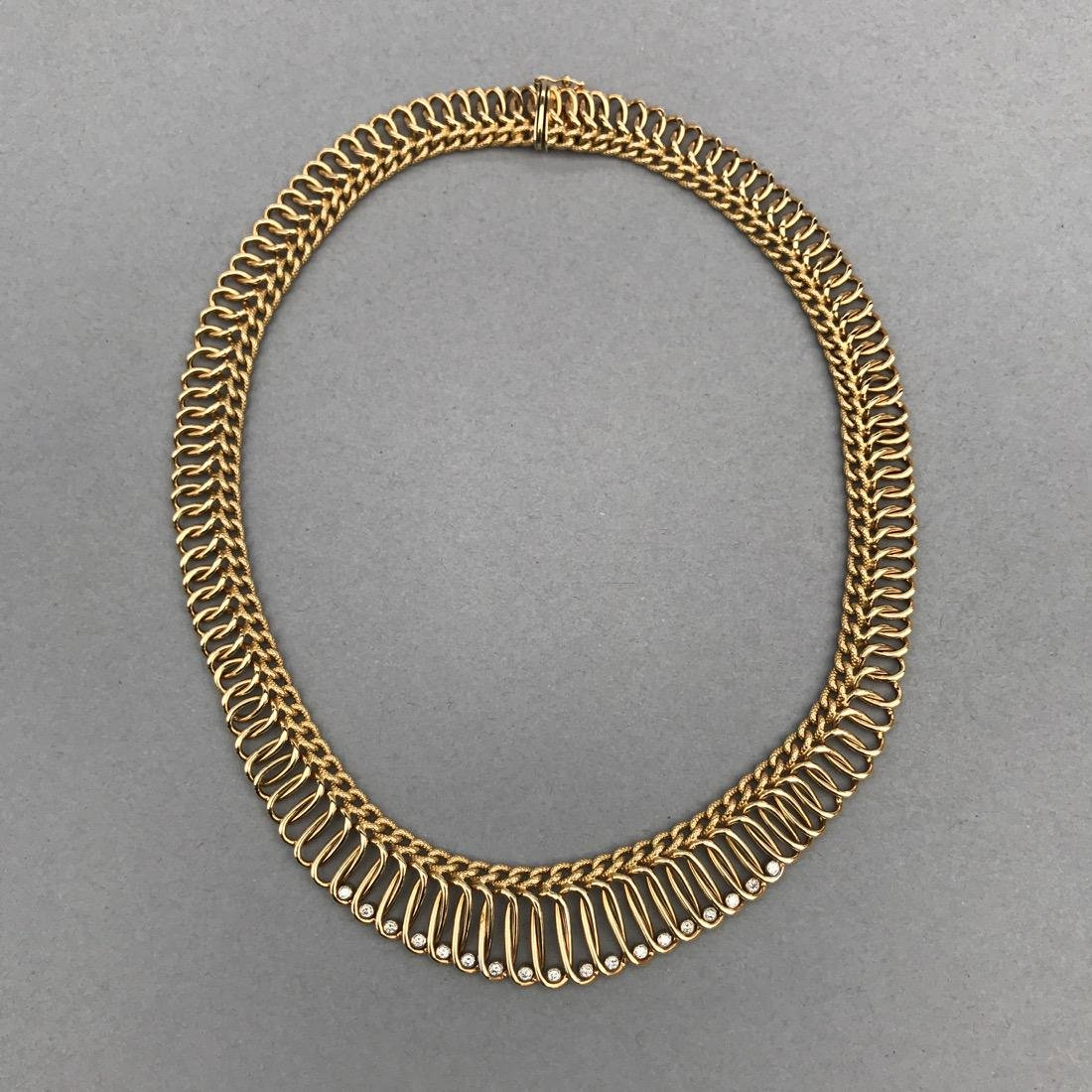 14K Gold Necklace with 18 Diamonds