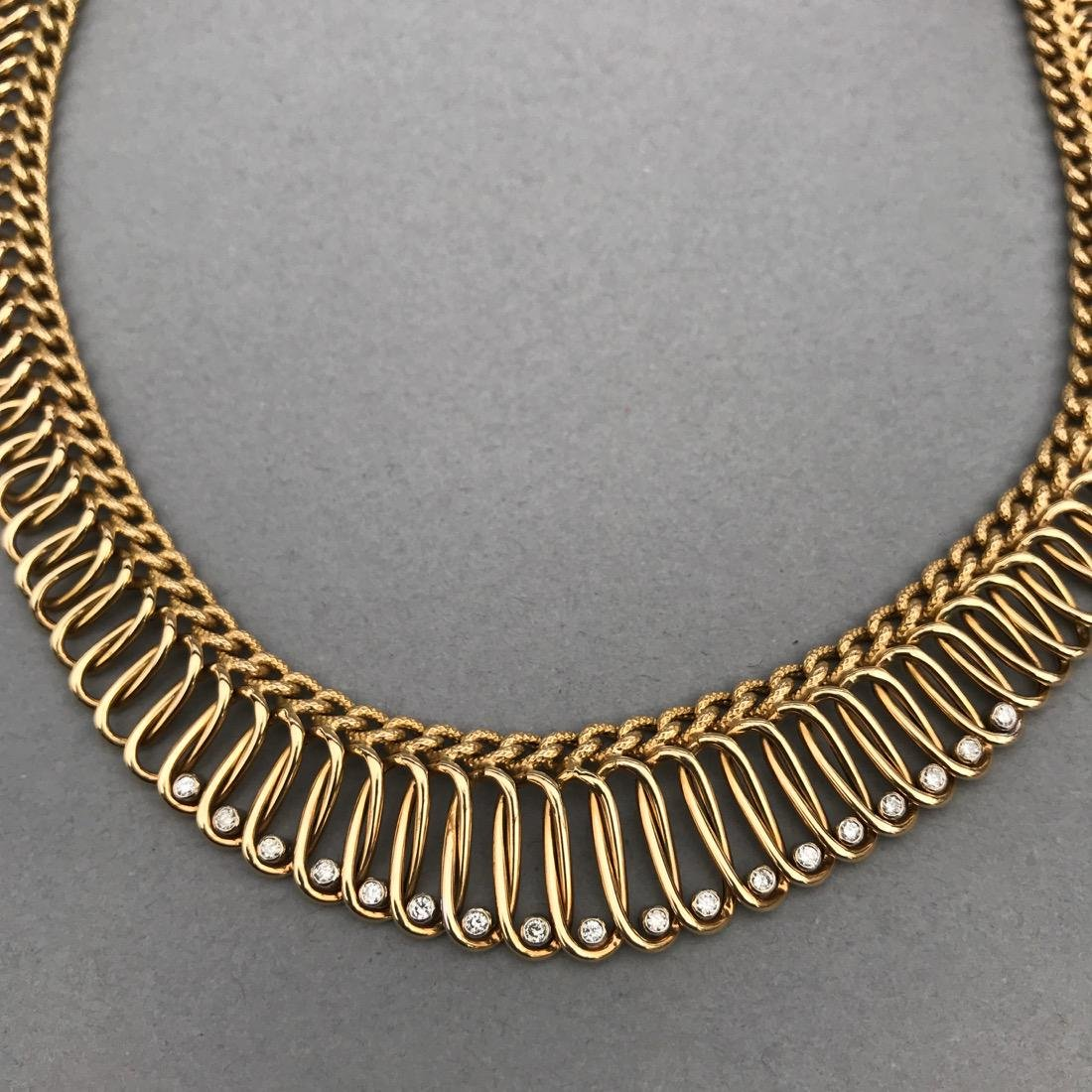 14K Gold Necklace with 18 Diamonds - 2