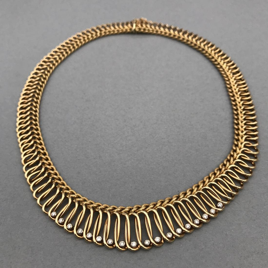14K Gold Necklace with 18 Diamonds - 3