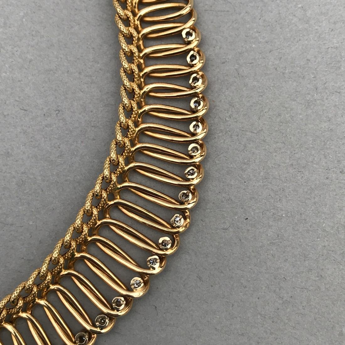 14K Gold Necklace with 18 Diamonds - 6