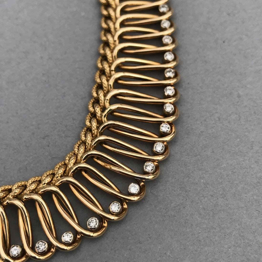 14K Gold Necklace with 18 Diamonds - 7