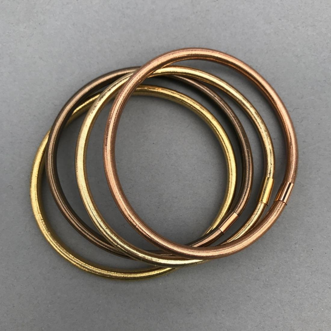 4 14K Gold Woven Flexible Bangle Bracelets