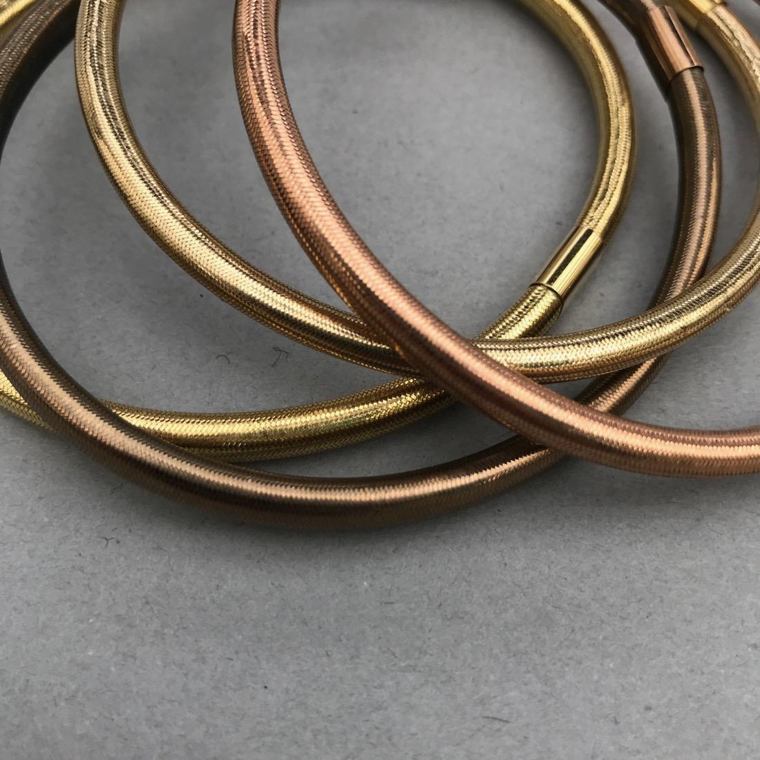 4 14K Gold Woven Flexible Bangle Bracelets - 2