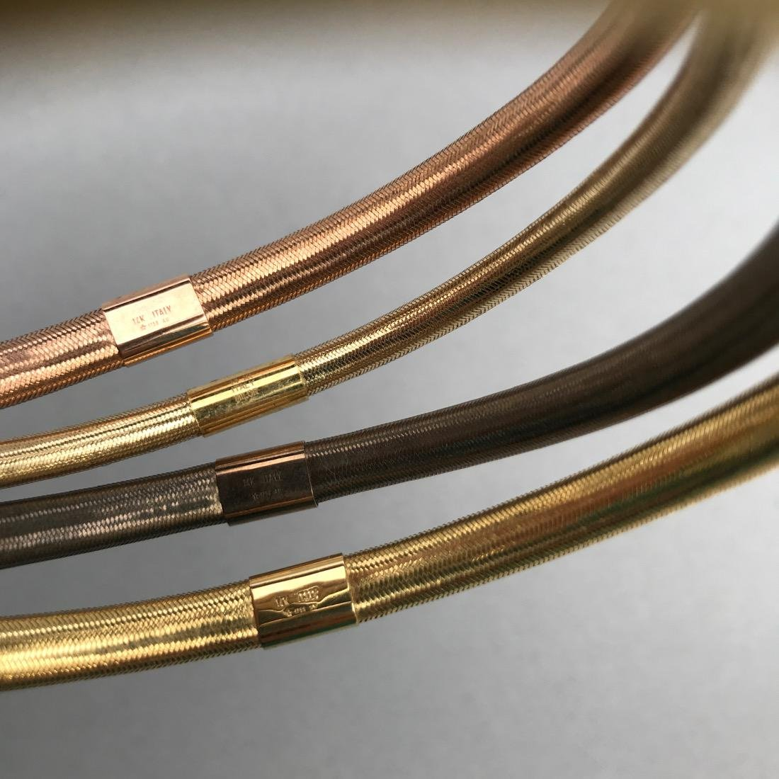 4 14K Gold Woven Flexible Bangle Bracelets - 3