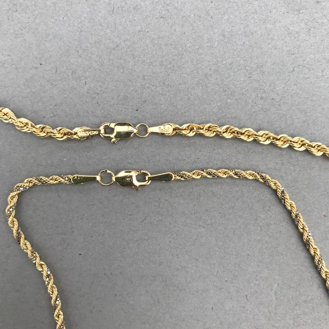2 14K Gold Twisted Chain Necklaces - 2