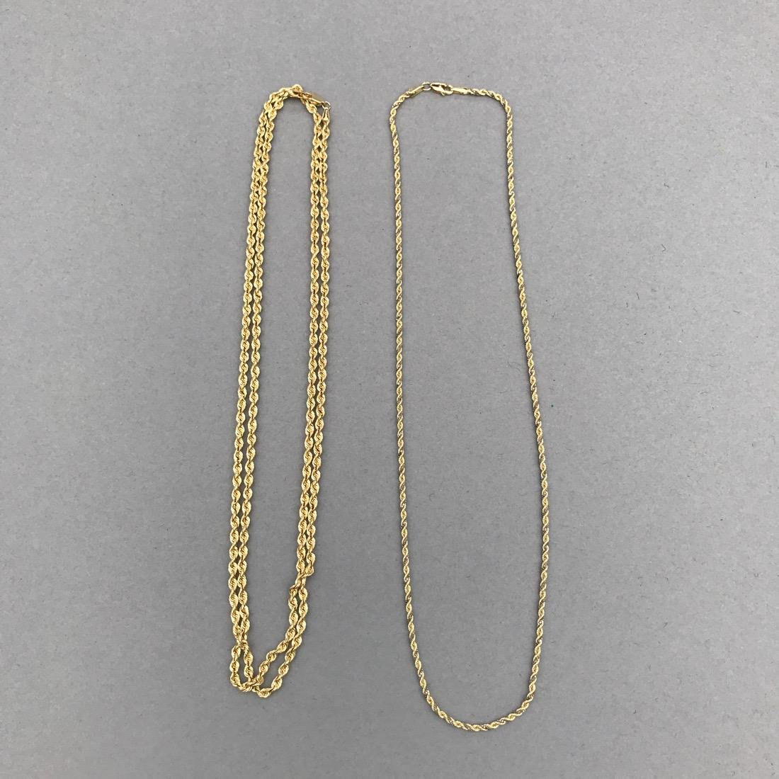 2 14K Gold Twisted Chain Necklaces - 5