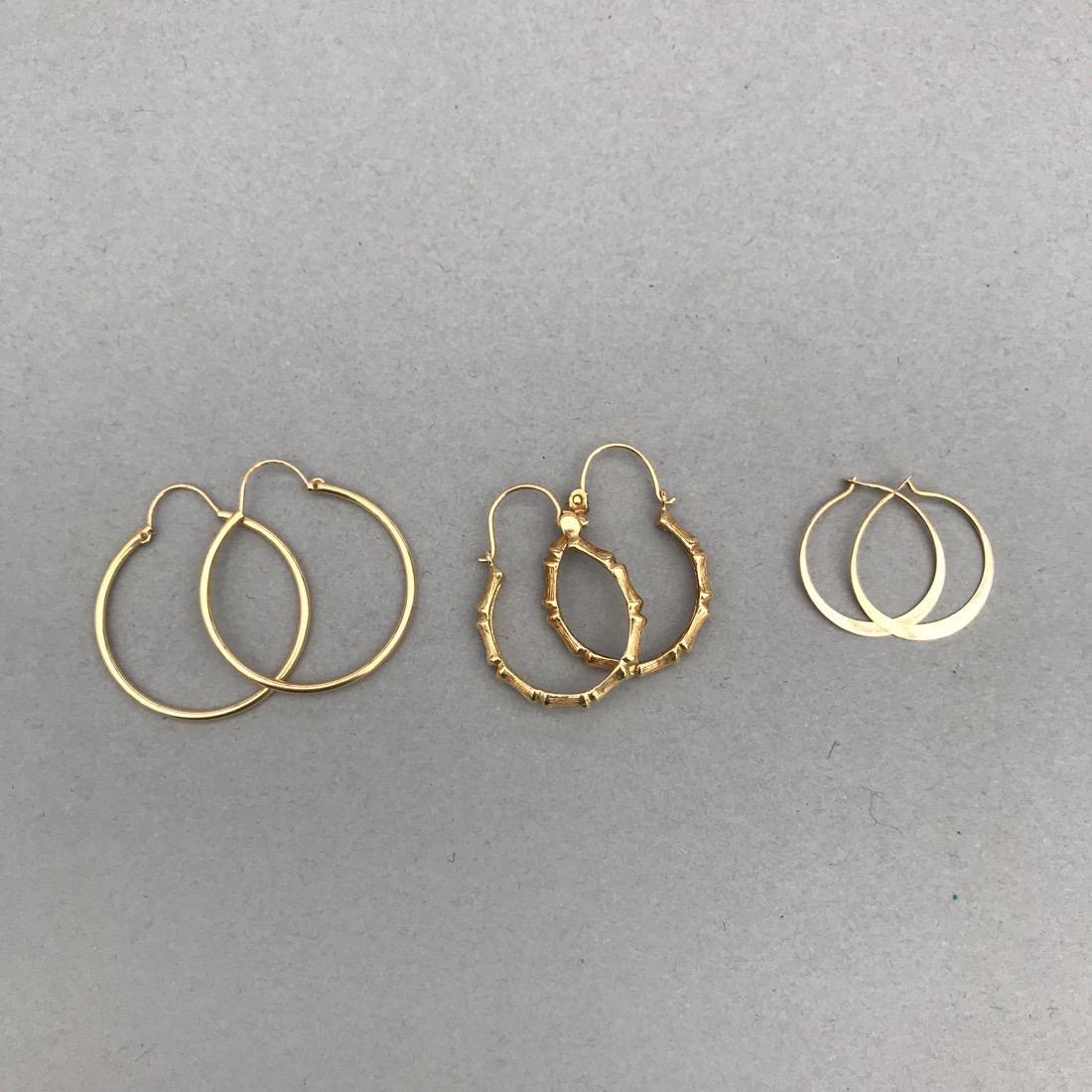 3 Pairs 14K Gold Hoop Earrings