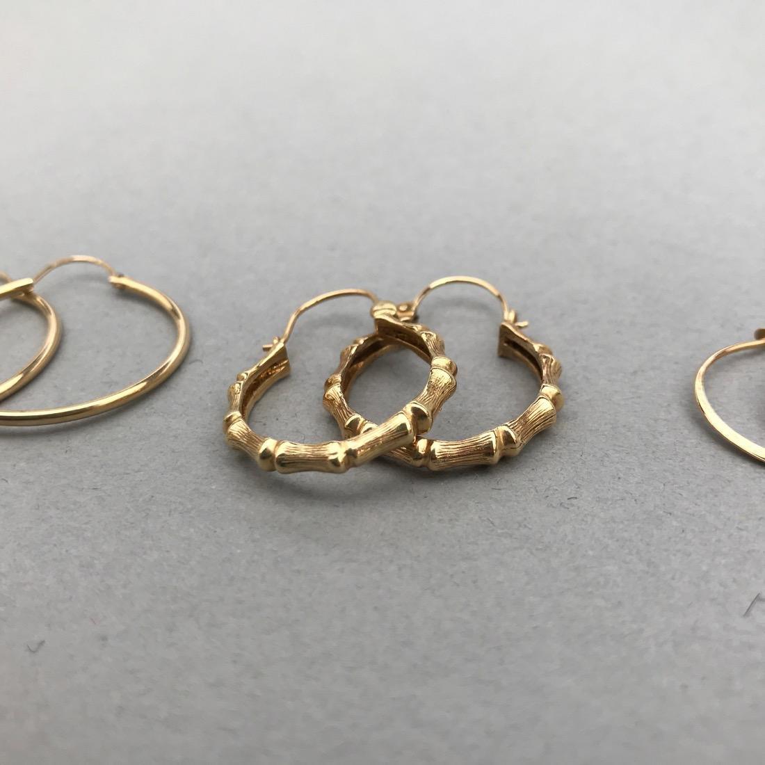 3 Pairs 14K Gold Hoop Earrings - 2