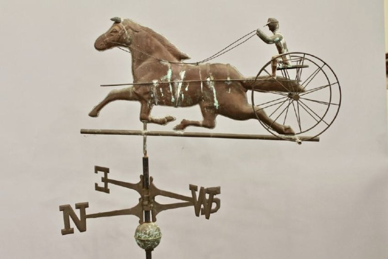 Vintage Horse & Sulky Weathervane w Directionals