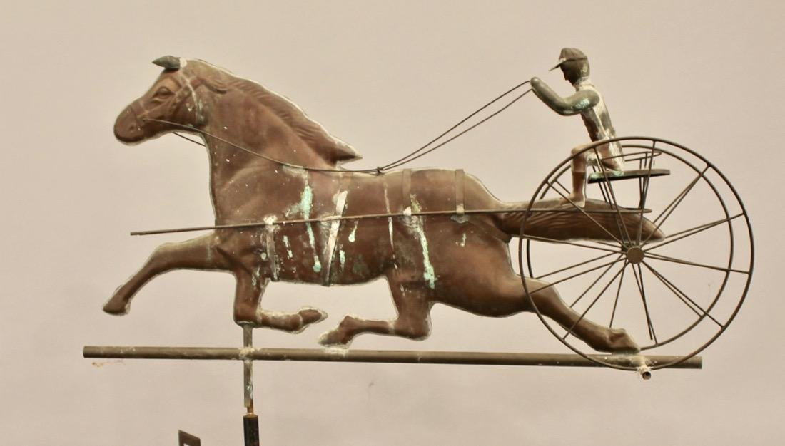 Vintage Horse & Sulky Weathervane w Directionals - 3