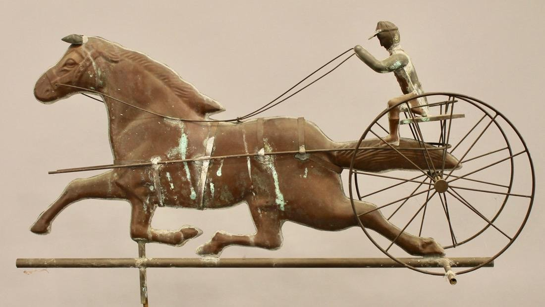 Vintage Horse & Sulky Weathervane w Directionals - 4