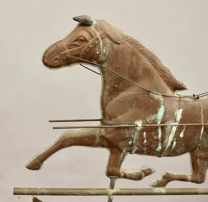 Vintage Horse & Sulky Weathervane w Directionals - 6