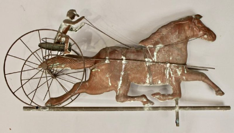 Vintage Horse & Sulky Weathervane w Directionals - 8