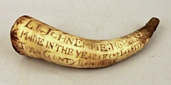 Inscribed Powder Horn Flask 1774 Lt John Empie NY