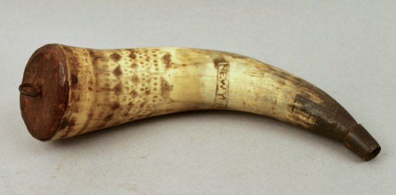 Inscribed Powder Horn Flask 1774 Lt John Empie NY - 2