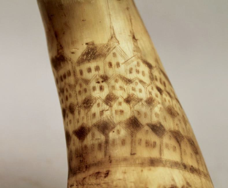 Inscribed Powder Horn Flask 1774 Lt John Empie NY - 3