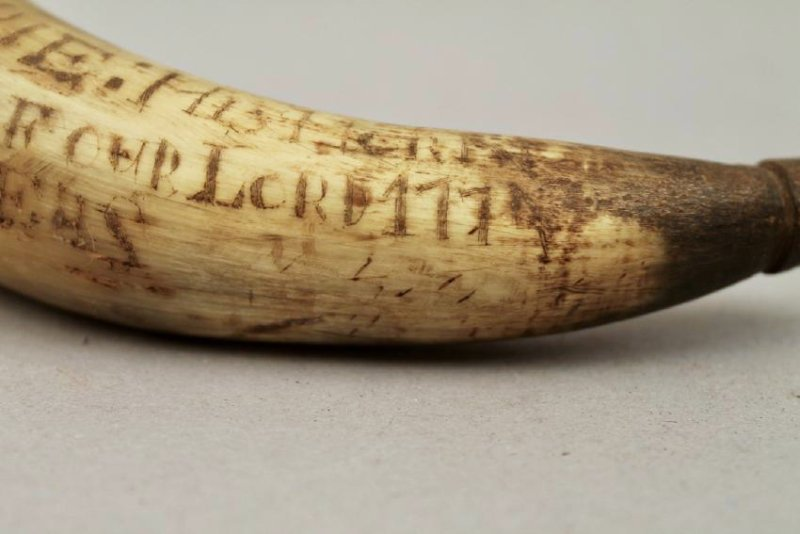 Inscribed Powder Horn Flask 1774 Lt John Empie NY - 7