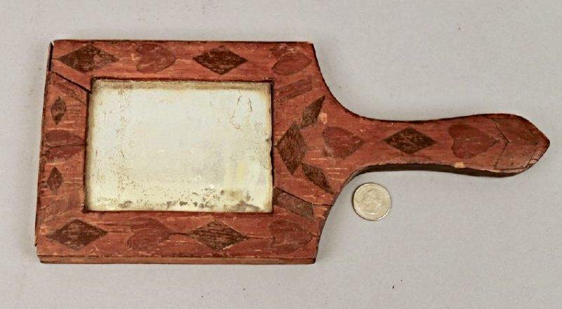 18/19th C Fragment Mirror w Heart & Checker Inlay